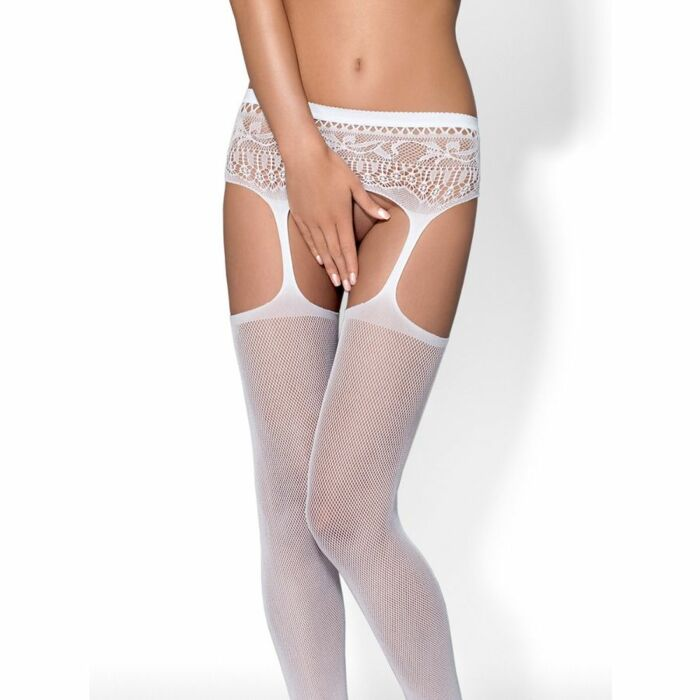 Obsessive s307 white stockings with garters s / m / l