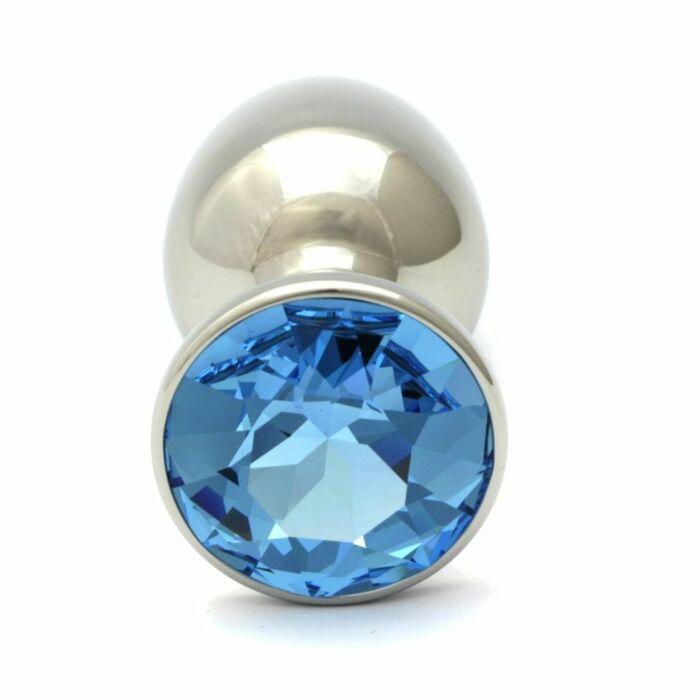 Swarovski crystal aquamarine anal plug 75 cm / 27mm